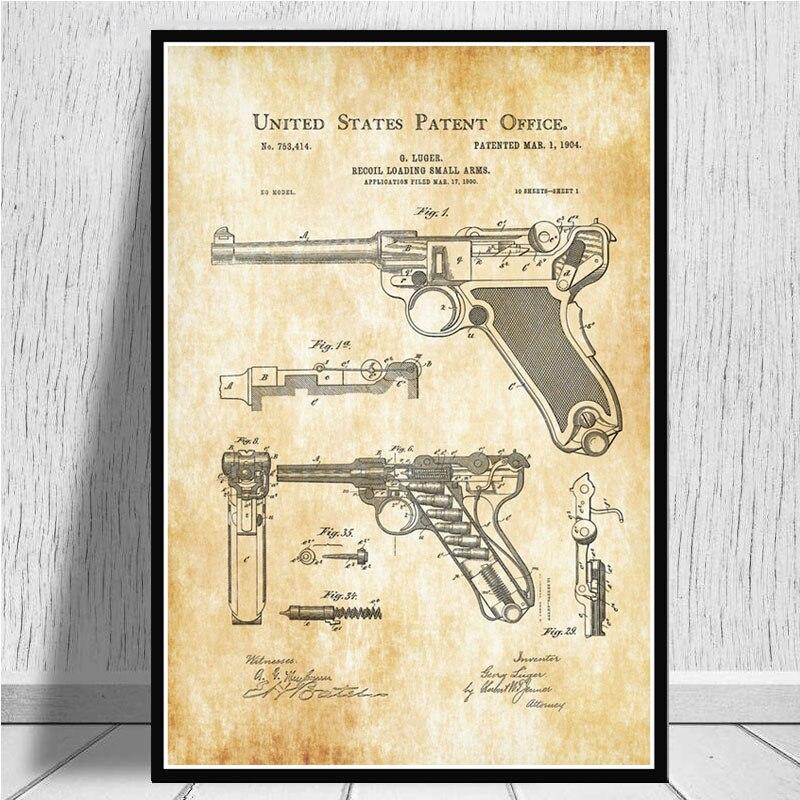 Постер и принты Luger Pistol патентная схема пистолета Современная живопись художественная живопись настенные картины для гостиной домашний декор - Цвет: Светло-серый