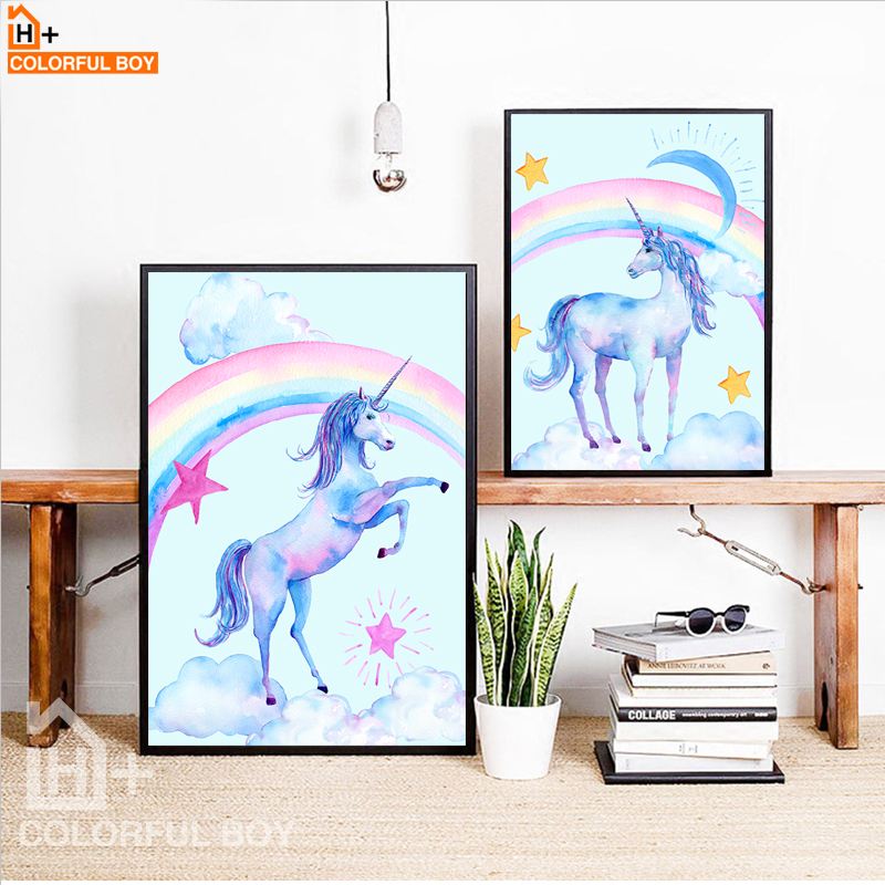 COLORFULBOY Unicornio Rainbow Star Canvas Painting Wall Art Print Acuarela Nordic Poster Wall Pictures For Kids Room Decoración para el hogar