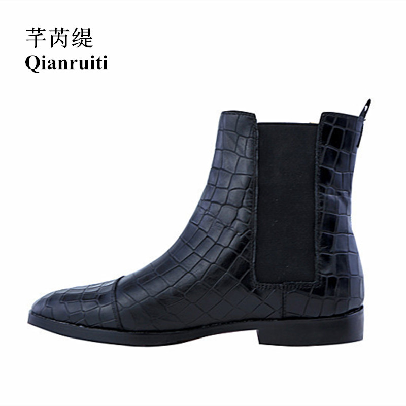 Qianruiti Autumn Winter Men Chelsea Boots Elastic band Low-heeled Vintage Style Western Street Alligator Boots EU39-EU46 ...