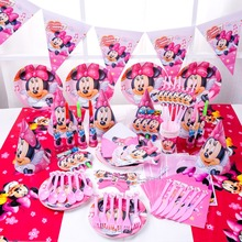 90pcs luxury quality Minnie Mouse baby girl happy birthday kids party decoration disposable tableware set suppliers