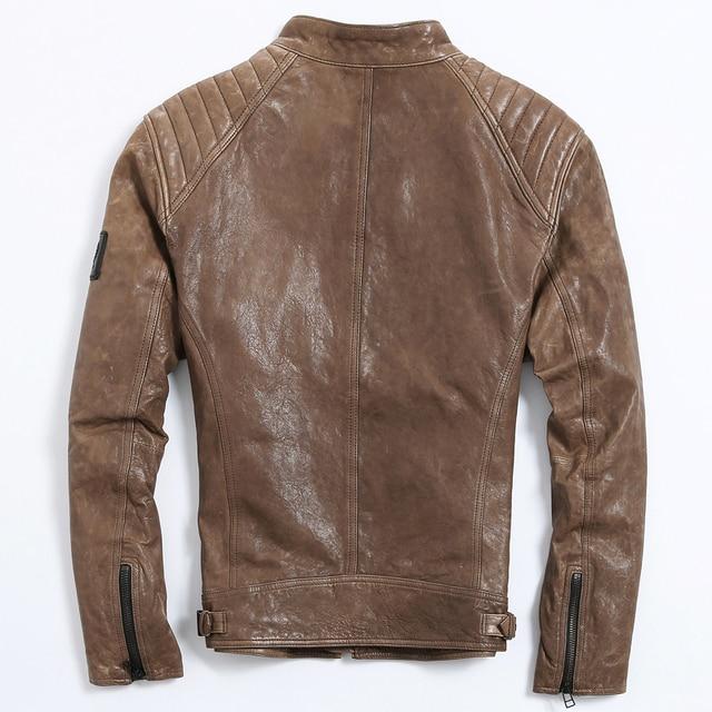 wholesale dealer 74877 99439 US $268.0  Brown Genuine Leather Jacket Uomo Uomo A Buon Mercato Naturale  Pelle di Pecora Giacca di Pelle Slim Vintage Cappotto Giacca Invernale 2017  ...