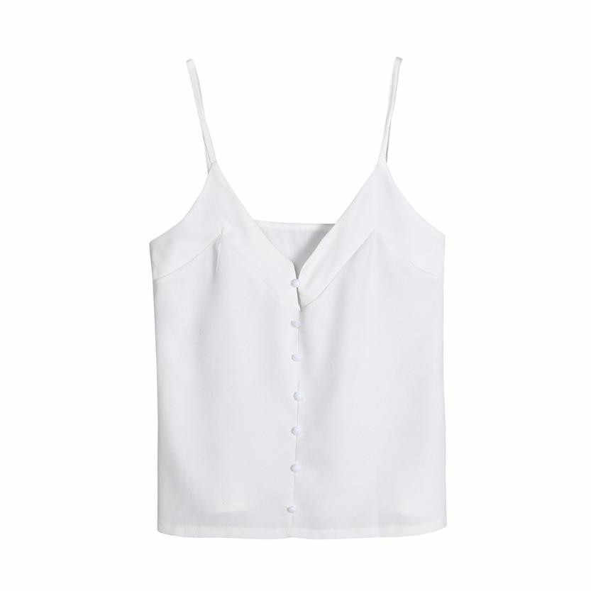 3ab54e403ea8a ... Women Chiffon Summer Vest Sleeveless V Neck Buttons Front Solid Tank  Top White Blouse Summer Top ...