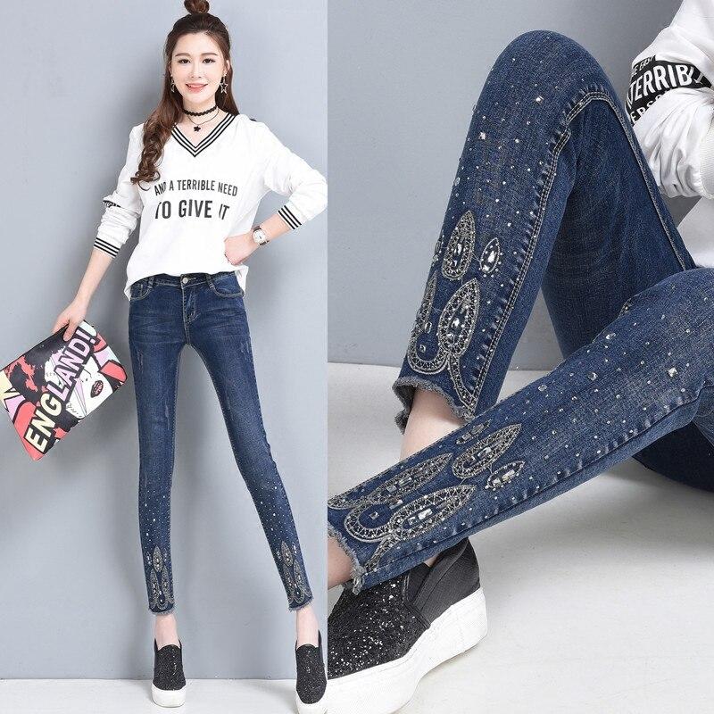 Crayon 26 Slim Strass Femmes La Pantalon Bleu 40 Jeans Denim Longueur Cheville Taille Plus Stretch Femme Mode w6xzCz