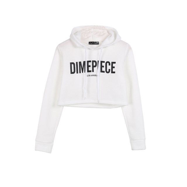 14b3d848a13 2018 Newly Fashion Active Casual Women Long Sleeve Hooded Pullover Letter  White Short Length Hoodies Outfit Spring Fall