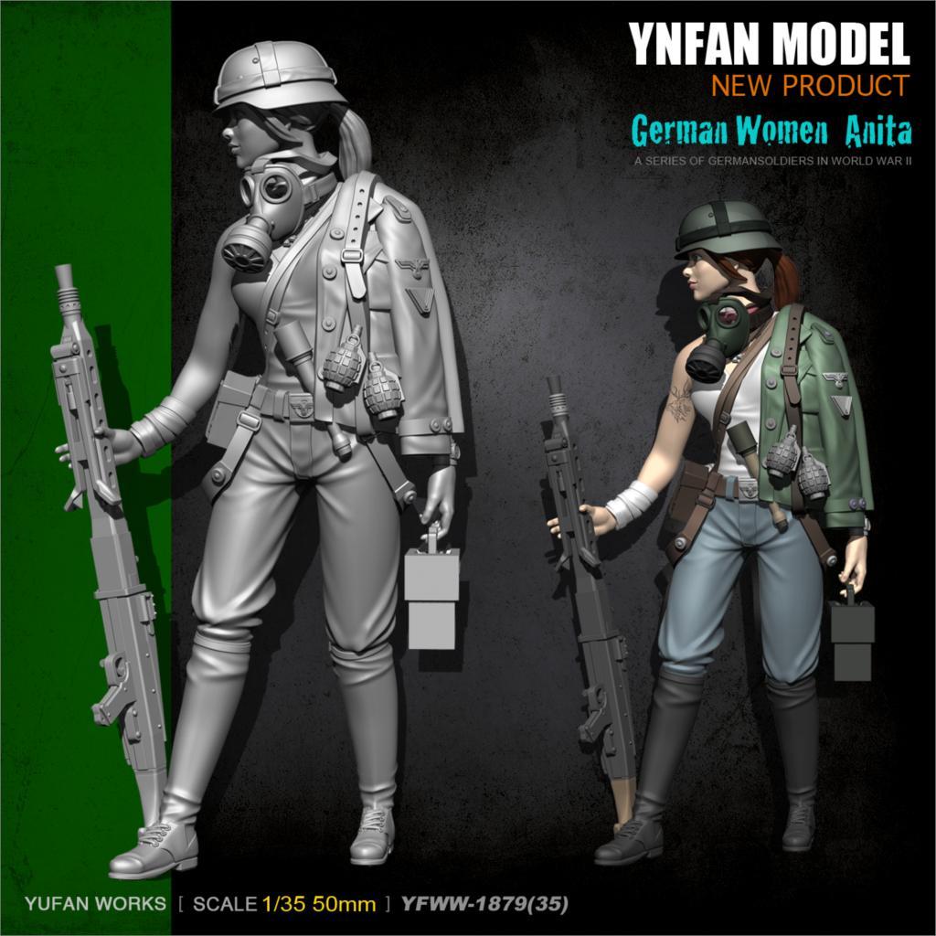 YuFan Model 1/35 Resin Kits Female Machine Gunner Resin Soldier YFWW35-1879