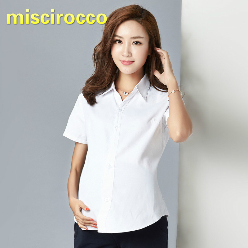 4903e235316 Pregnant Women s Shirts White Long Sleeves Short Spring and Autumn Clothes  Maternity Clothing Professional Work Clothes
