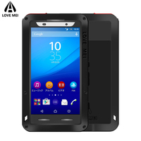 Love Mei Aluminum Armor Case For Sony Xperia Z3 Z4 M5 Cover Metal Shockproof Waterproof Case For Sony Xperia Z3 Z4 M5 Case