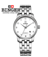 New Design 2017 Binger Luxury Tourbillon Automatic Watch Men Hollow Transparent White Dial Full Steel Mechanical Watches Digital