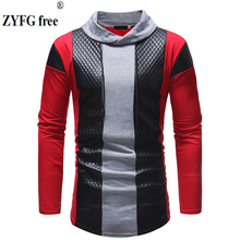 цена на 2019 Men Long Sleeve T Shirt Spring Casual stand Neck  Elastic Fit Funny Streetwear Solid t shirt fashion Tops plus size