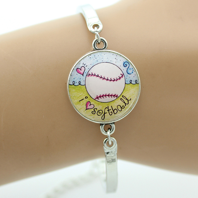New Novelty Interesting Softball Bracelet Women Men Casual Sports Jewelry I Love Charms Bracelets 2017