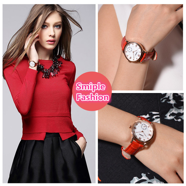 CASIMA Red Fashion Quartz Wrist Watch Women Bracelet Watches Stainless Steel Brand Leather Waterproof 2606