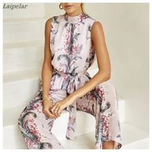 Womens Summer Jumpsuit,Boho Floral Printed Halter Sleeveless Jumpsuit Casual Strap Romper with Waistband 2018 Laipelar