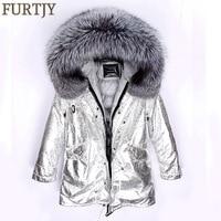 FURTJY 2018 Winter Jacket Women Real Fur Coat Long Parka Natural Raccoon Fur Collar Duck Down Coat Thick Warm Streetwear