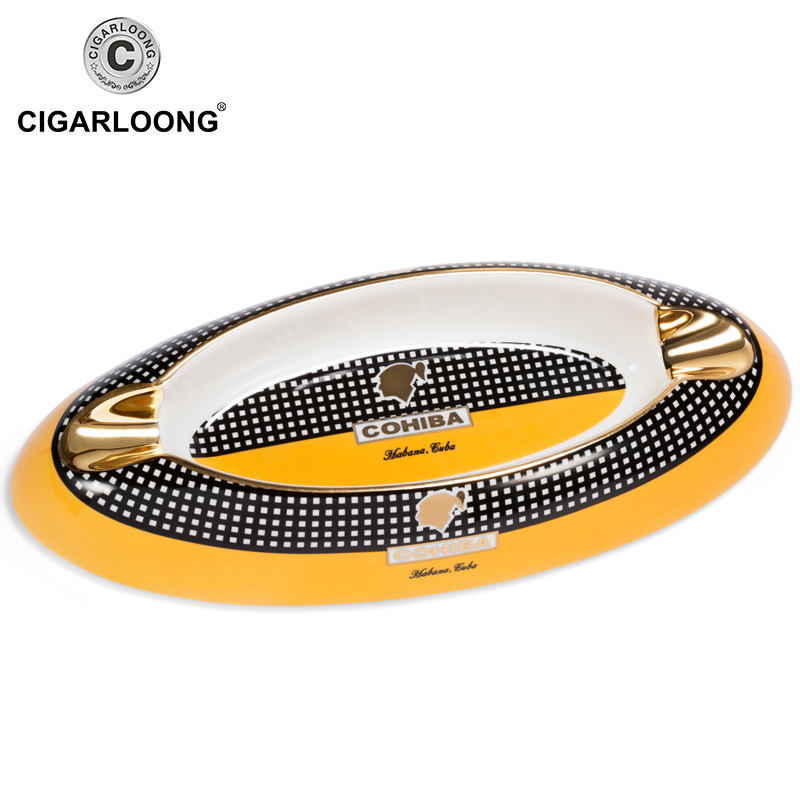 Luxury Ash Tray Portable Ceramic Large Cigar Ashtray Gold Accessories Home Smoking Pocket Cigarette Tray Office Table Decoration in Ashtrays from Home Garden