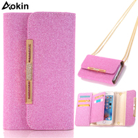 Aokin Lady Wallet Purse Case For iphone 7 Pink Purse Card Slot Phone Case For iphone 7 6 6s Plus 5 5s With Bag strap Chain