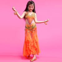 2018 Girls/Children/Kids Indian Belly Dance Costums 3piece(Bra+Dress+Waist Sealing) Oriental Dance M/L/XL Free Shipping