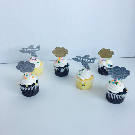 4420a7d3b Airplane cloud Time flies party. First birthday Glitter cupcake Toppers  wedding party Bridal shower Baby Shower food picks-in Cake Decorating  Supplies from ...