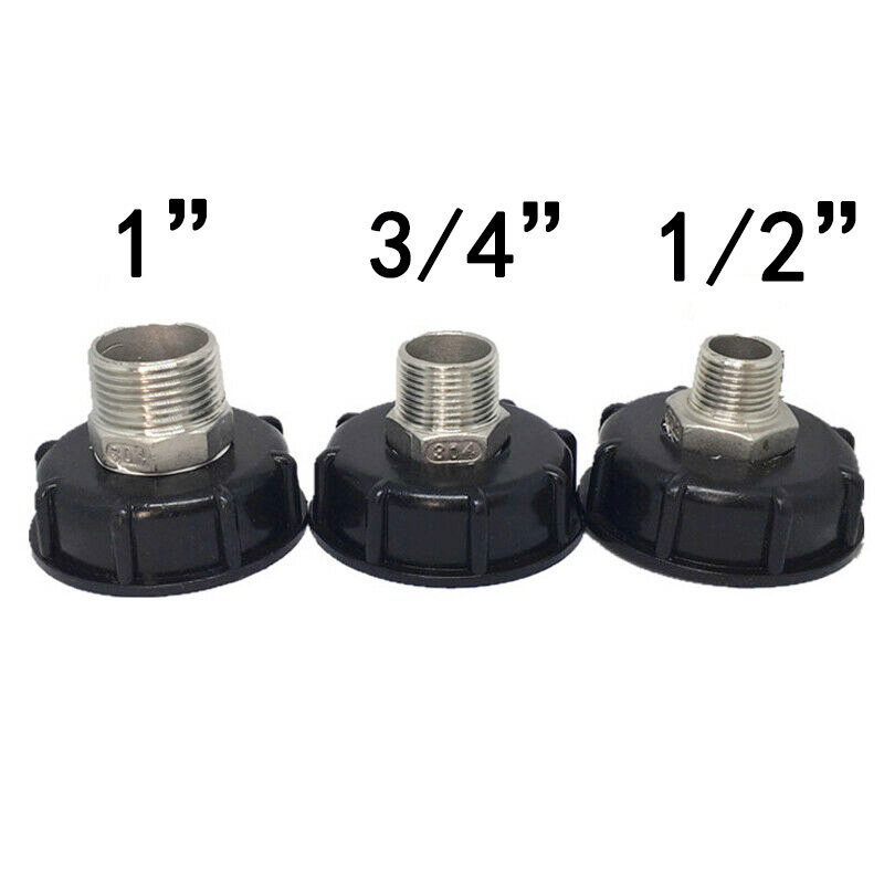 60mm Thread IBC Water Tank Adapter Garden Fittings Replacement 1/2″ 3/4″ 1″ Plastic For IBC containers Drain Connector S60x6