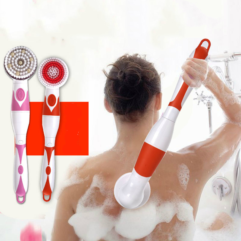 4 In 1 Electric Bath Brush Waterproof Long Handle Massage Brush Spa Battery with 4 Pcs