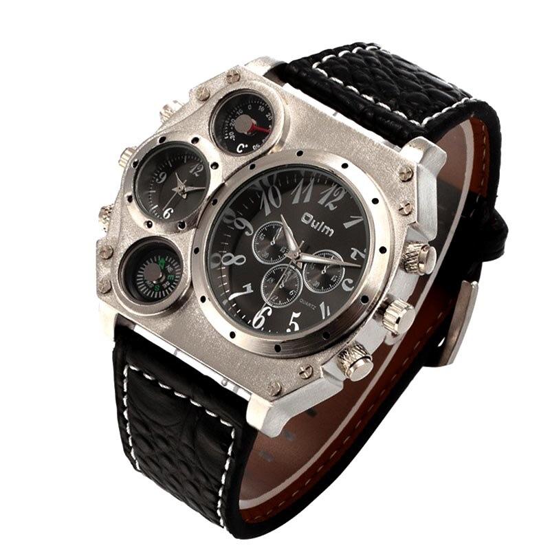 d29f243f8e7 Marca de Luxo Oulm Homens Militares Esportes Relógio de Quartzo Homem  Relógio de Quartzo-Vários Fusos horários do Relógio Masculino Quadrado  Relógios ...