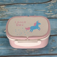 Cokytoop New Lunch Box for Kid Wheat Straw Unicorn Bento Boxes 2 Layer with Handle Spoon Broodtromme Licorne Food Container