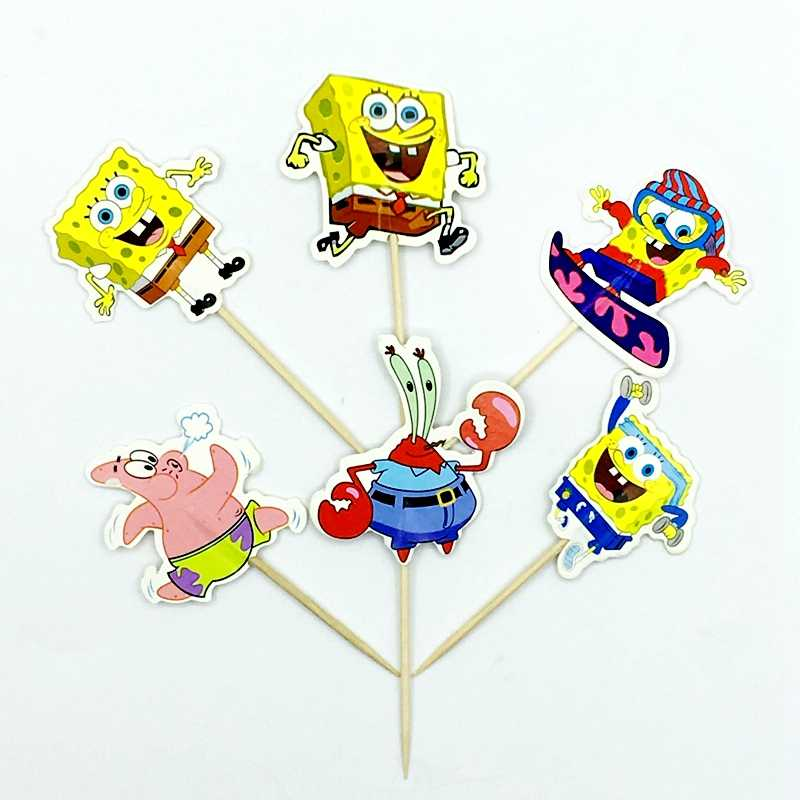 24 pcs Spongebob Squarepants Tema chapéus de Coco Do Bolo de Aniversário Decoração Do Partido Do Chuveiro Do Bebê Crianças Favores Cupcake Topper Eventos Suprimentos