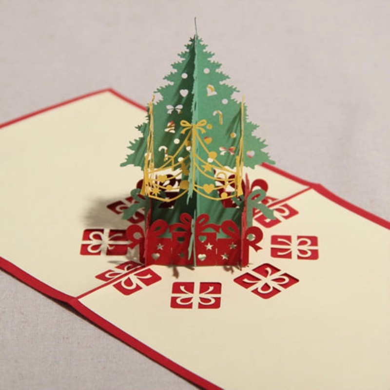 3D Merry Christmas Tree Greeting Card Postcards Handmade Card Birthday Thanksgiving Greeting Card