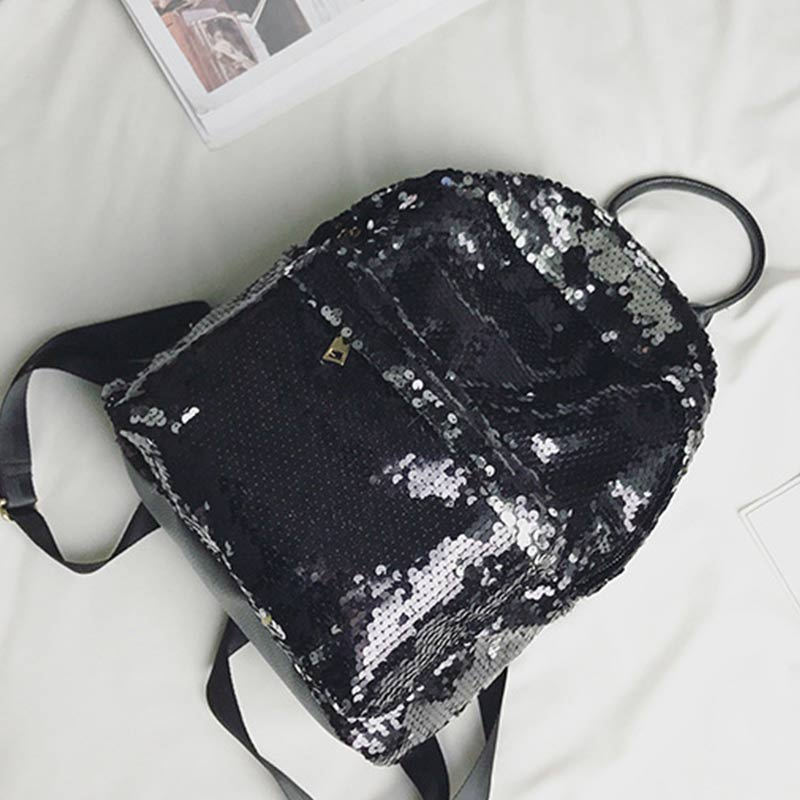 JSFINER 2018 Women Sequins Backpack Student Softback Gradient Color School Bag Female Fashion Below 20 Litre Traveling Backpack