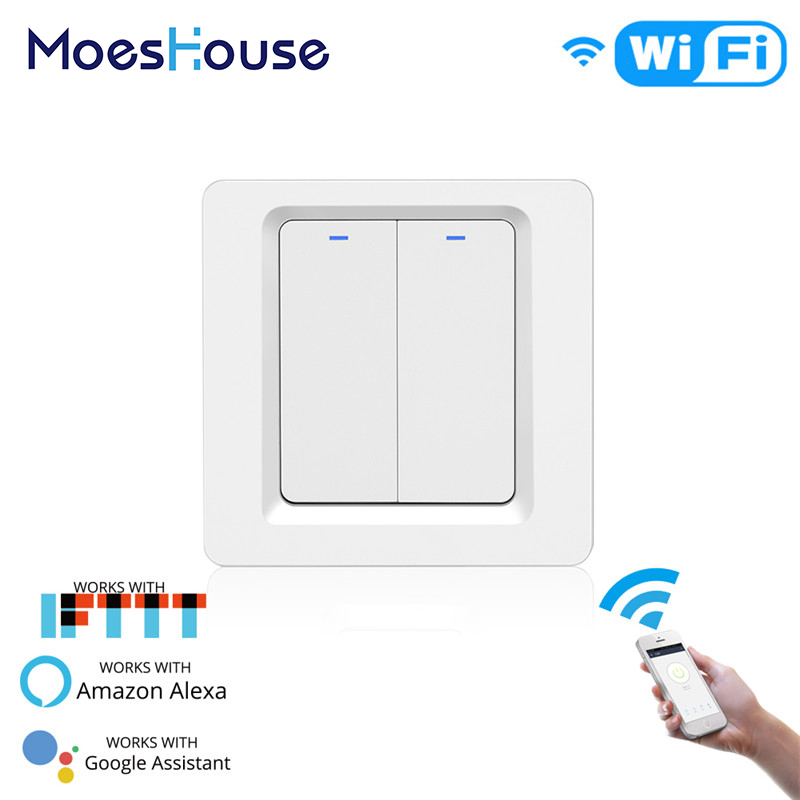 WiFi Push Button Smart Light Switch Smart Life/Tuya APP Remote Control Works with Alexa Google Home for Voice Control 2 GangWiFi Push Button Smart Light Switch Smart Life/Tuya APP Remote Control Works with Alexa Google Home for Voice Control 2 Gang