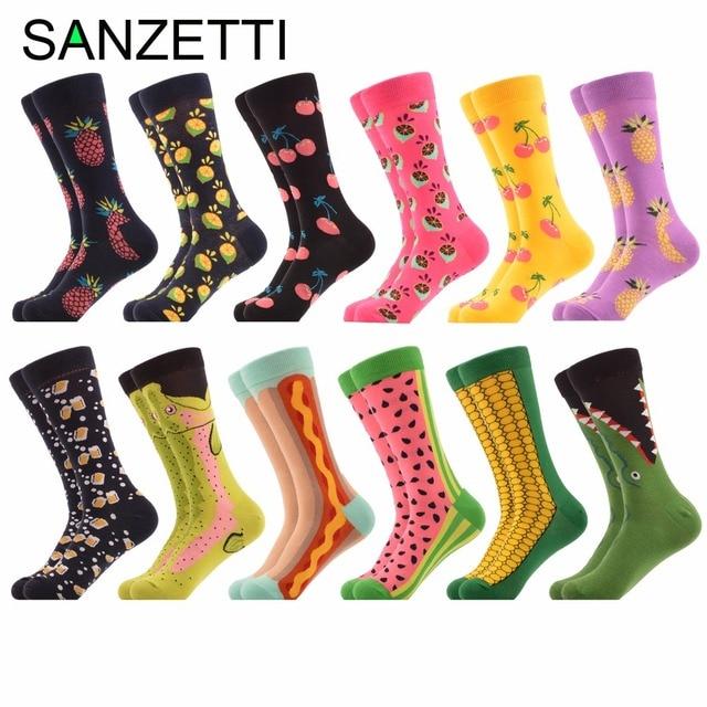 SANZETTI 12 Pairs/lot Funny Mens Colorful Combed Cotton Wedding Socks Novelty Fruit Multi Set Dress Casual Crew Design Socks