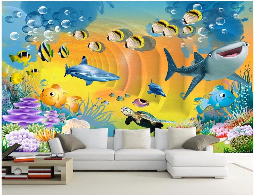 Custom photo 3d wallpaper The fantastic children's house fish coral home decor on a wall 3d wall murals wallpaper for bedroom lim word fantastic stories for the film adaptation