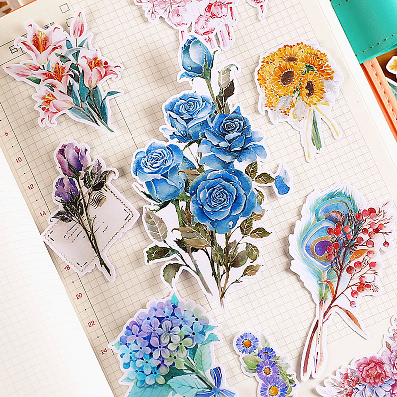 20pcs/lot Beautiful flowers paper sticker Decoration Diy Scrapbooking Sticker Stationery kawaii Girl's gift label stickers
