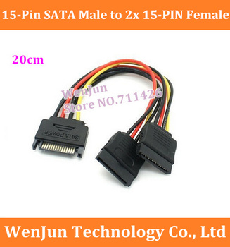 DHL/EMS Free Shipping SATA 15-pin Male to 2 SATA 15-pin Female Y- Splitter Hard Disk Power Cable 1 to 2 extension Cable