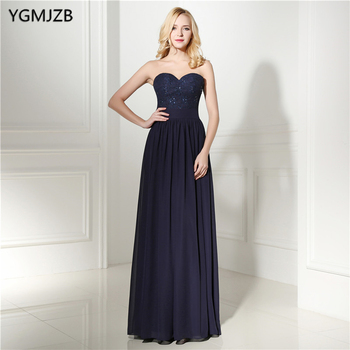 Navy Blue Sweetheart Bridesmaid Dresses Long Plus Size Chiffon A Line Sleeveless Beaded Lace Floor Length Wedding Party Dress