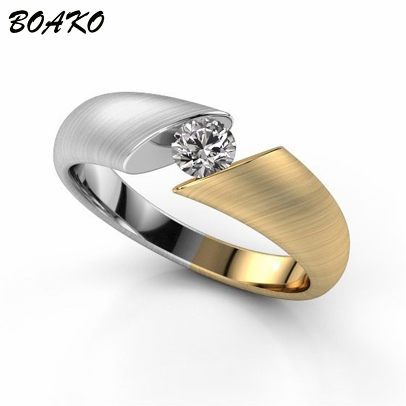 BOAKO Classic Wedding Rings Gold Color Separation Zircon Crystal Ring for Women Personalized Engagement Ring Party Jewelry Bague in Wedding Bands from Jewelry Accessories