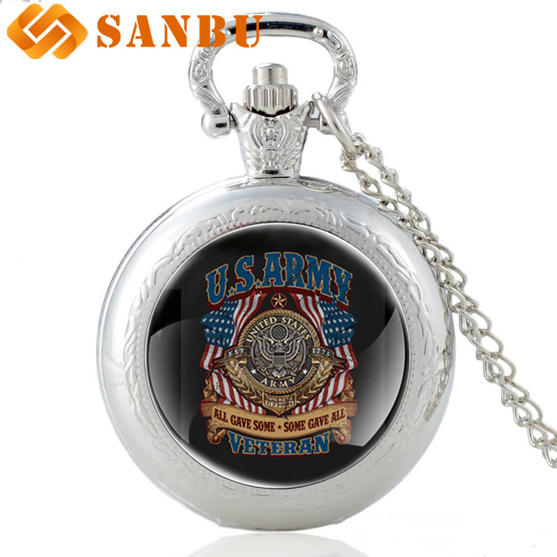 2018 New Fashion Silver United States Army Logo Quartz Pocket Watch Vintage Men Women Military Pendant Necklace Watches