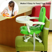 Baby Booster Seat High Chair Foldable Detachable Tray Safety Belt Highchair Child Kids Dinner Feeding Chair Collapsible Portable