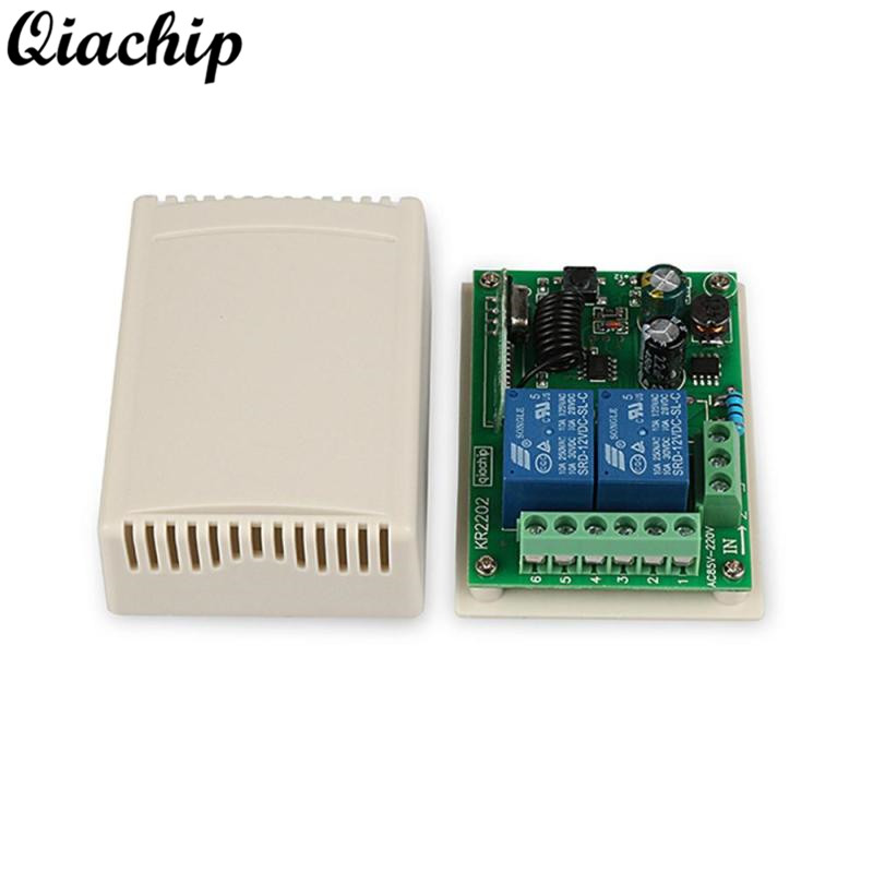 QIACHIP 433MHz 2CH Wireless RF Relay Remote Control Switch AC 85V~250V 110V 220V Receiver Learning Button Light Module Smart DIY