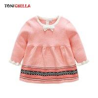 Kids Girls Knitted Dress Long Sleeve Spring Autumn Long Sleeve Baby Infant Children Pink Princess Dresses