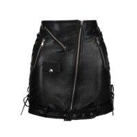 Women Mini Skirt PU Bodycon black Autumn zipper plain sexy cool pocket modern slim bow fake leather female work office lady