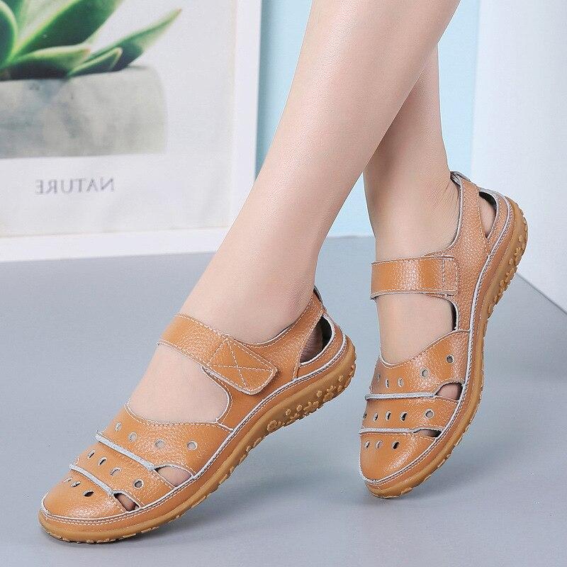 Image 2 - Women Sandals Plus Size Split Leather Soft Bottom 2019 Summer Flat Shoes Woman Leisure Sandal Cut out Mothers Sandalias SH060401Low Heels   -