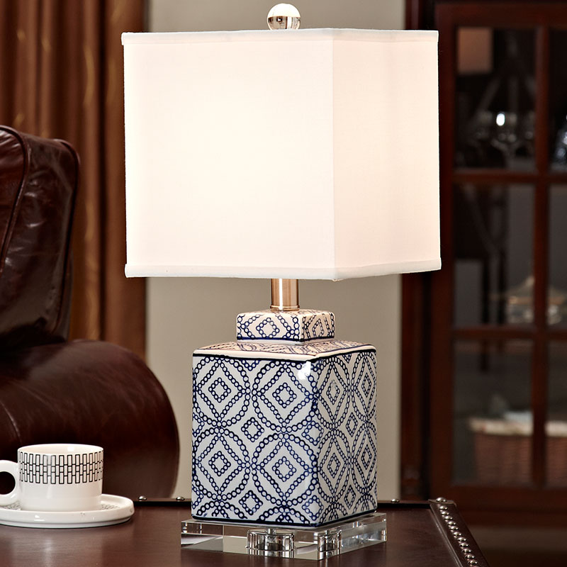 Crystal Bedroom Table Lamp Blue and white porcelain Living Room Decoration Abajur Table lamp For Bedroom Lamparas De Mesa america water pipe table lamp in loft industrial style led table lamps for bedroom living room abajur lamparas de mesa