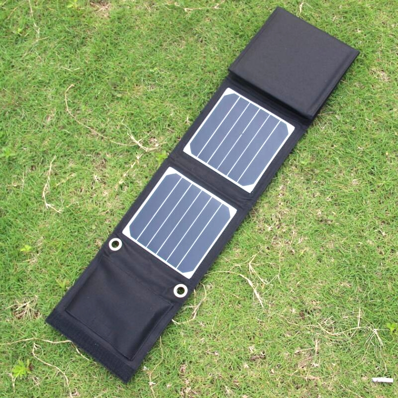 BUHESHUI 14W Sunpower Foldable Solar Charger Portable Solar Charger For 5V Output Devices Dual USB 2PCS/Lot Free Shipping free shipping 1pc lot 18w 18v foldable solar battery charger for laptop with usb voltage controller for mobilephone mp3 psp