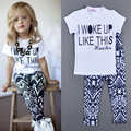 2016 baby girl roupas de bebê conjunto roupa da menina letra impressa Eu ACORDEI ASSIM T shirt + pant menina 2 pcs define vetement enfant