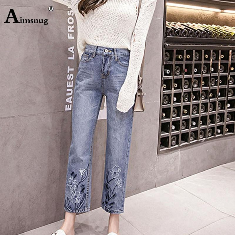 Light blue 2019 New Streetwear   Jeans   Women's Pants Fashion Embroidery Female   Jeans   Vintage Denim Straight Stretch   Jean   Trousers