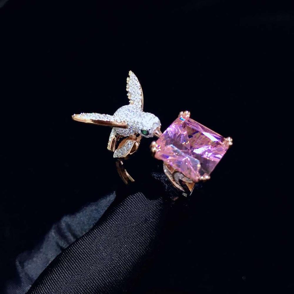 Bague cocktail 925 en argent sterling avec zircon cubique bague oiseau taille réglable mode femmes bijoux pour fête colibri - 5