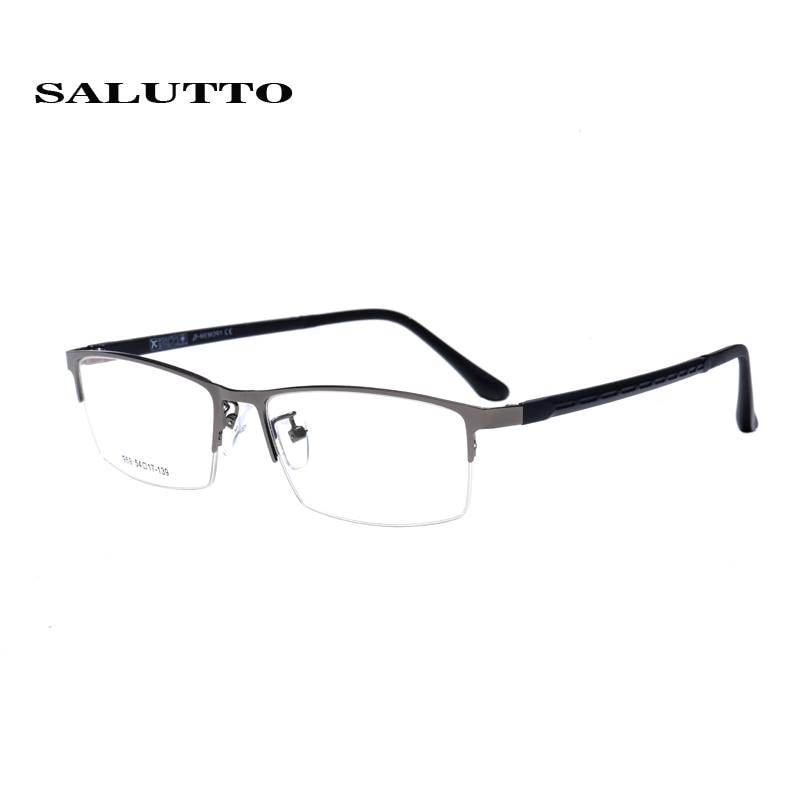 8f5731948 Mens óculos de armação óptica de metal Meia óculos de armação oculos de  grau armações de óculos Quadrados clássicos TR90 pernas oculos de grau