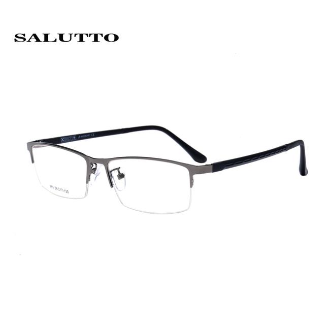 Mens óculos de armação óptica de metal Meia óculos de armação oculos de grau armações de óculos Quadrados clássicos TR90 pernas oculos de grau