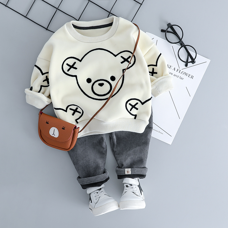 Boys Clothing Set Winter Thick New Fahion Style 0-3 Years Cotton O-Neck Full Sleeve Children Sets Baby Boys Clothes