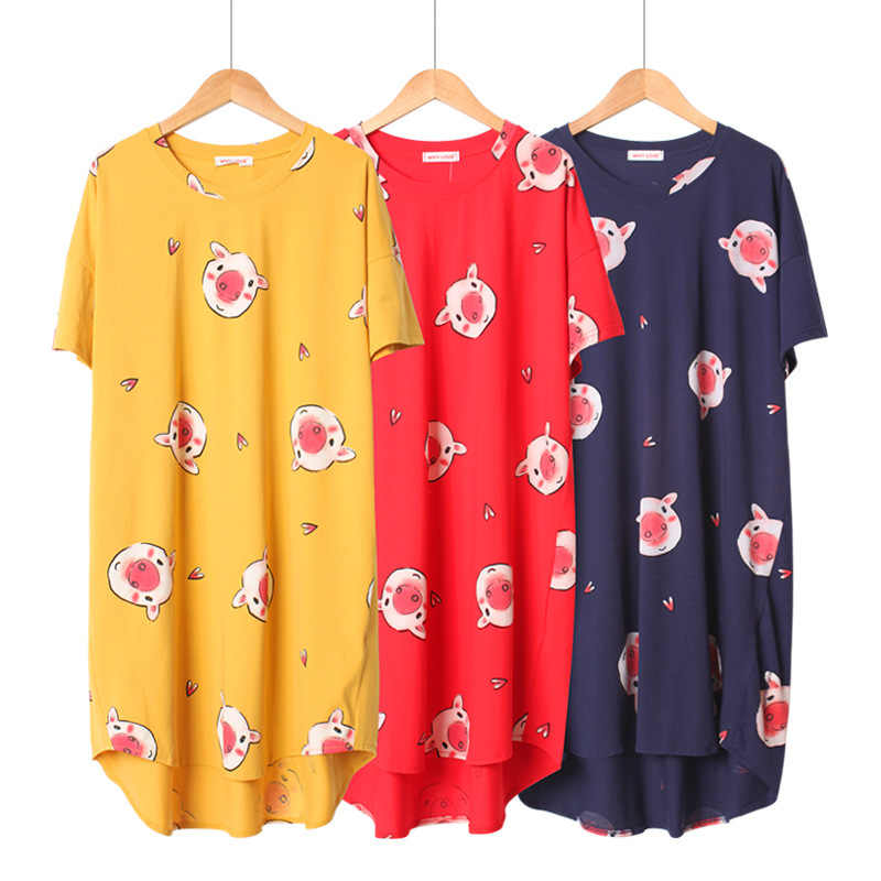 Summer Cotton Short Sleeve Piggy Pyjamas Long Loose Sweet Plus Size Women Sleepwear Korean   Nightgown     Sleepshirts   Sleep Dress